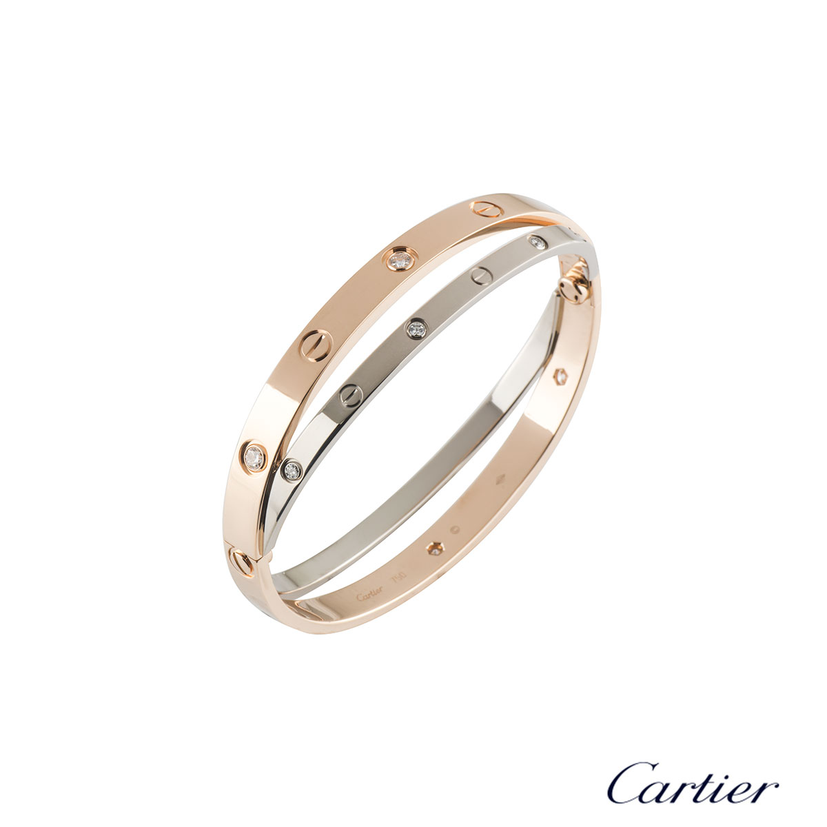 Cartier Love Rose & White Gold Diamond Bracelet Size 17 N6039117